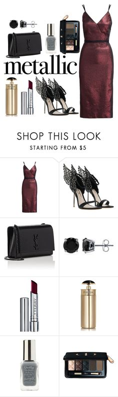 """""""Metallic Night"""" by ivak9 ❤ liked on Polyvore featuring Cinq à Sept, Yves Saint Laurent, BERRICLE, By Terry, Prada, Lipsy and Christian Dior"""