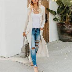Winter Coats Women, Coats For Women, Mode Mantel, Gilet Long, Cardigan Outfits, Long Cardigan, Knit Cardigan, Beige Cardigan, Outfit Jeans