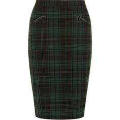 Dorothy Perkins Green and black check pencil (735 UAH) ❤ liked on Polyvore featuring skirts, green, tartan plaid skirt, checkered pencil skirt, dorothy perkins, checked skirt and green plaid skirt