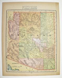 Antique Arizona Map Vintage Old New Mexico Map Original 1900 State County Travel Map Christmas Gift Under 20 Gift For Home Cyber Monday