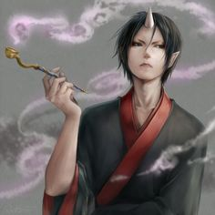 Image d'anime 1000x1000 avec  hoozuki no reitetsu hoozuki (hoozuki no reitetsu) lma (artist) single short hair black hair looking away pointy ears horn (horns) holding lips smoke collarbone male japanese clothes traditional clothes demon yukata wide sleeves
