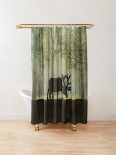 Rustic Shower Curtain Design of An illustration of a Moose / Elk Silhouette with antlers in the forest vector graphic. In greens and grunge browns. Hunting and hunters image design. Elk Silhouette, Rustic Shower Curtains, Forest Illustration, Custom Shower, Wild Life, Antlers, Moose, Tub, Grunge