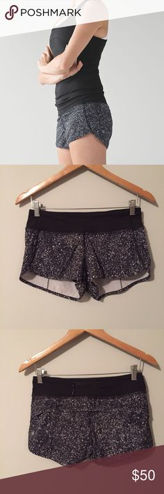 Lululemon Speed Shorts Lululemon Speed Shorts in mini black white splatter print, size 4, perfect condition with no flaws or signs of wear, four way stretch, continuous drawcord at waist, signature three pocket waistband, built in liner. Bundle to save 10% off❤️ lululemon athletica Shorts