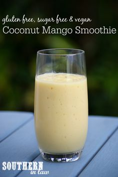 This Mango Coconut Smoothie Recipe is thick creamy fast easy and oh so delicious. The recipe is gluten free low fat vegan clean eating friendly sugar free dairy free and so simple! Also see the more affordable version of the VitaMix - the OmniBlend! Protein Smoothie Recipes, Coconut Smoothie, Strawberry Smoothie, Juice Smoothie, Smoothie Drinks, Apple Smoothies, Healthy Smoothies, Healthy Drinks, Sugar Free Vegan