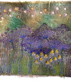 Fabric Art with Velvet - Angie Hughes teaches creative textiles and fabric art… Best Embroidery Machine, Free Motion Embroidery, Machine Embroidery Projects, Embroidery Art, Embroidery Designs, Embroidery Stitches, Patchwork Quilting, Textile Fiber Art, Textile Artists