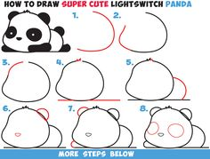 How to Draw a Super Cute Kawaii Panda Bear Laying Down Easy Step by Step Drawing Tutorial for Kids & Beginners