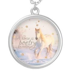White Horse Quote Poetry in Motion Gold Stars Silver Plated Necklace - western style diy unique customize stylish