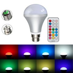 E27/B22 10W RGBW LED Light Bulbs Colorful Globe Lamp + Remote Control AC85-265V