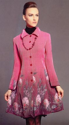 GIVERNY COAT DRESS   A painterly princess dress is bordered with impressionistic garden print upon a ribbed raspberry fabrication. Imported. 100% polyester. Hand wash in cold water with mild soap, lay flat to dry. Do not bleach, iron, or steam.