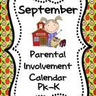 """If you want more meaningful """"homework"""" for your PK or Kindergarten students, this freebie September  Parental  Involvement Calendar is for you.  St..."""