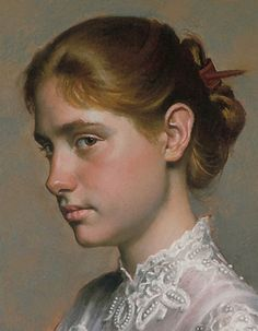 """Jessie Chaffee"" - Daniel E. Greene (b. 1934), oil on canvas, 1997 {figurative art beautiful female young woman portrait profile cropped painting detail #loveart} danielgreeneartist.com"