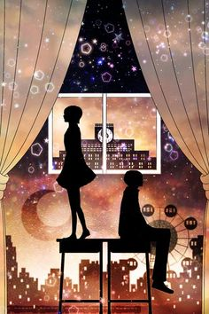 Anime picture 				1000x1500 with  		original 		harada miyuki 		tall image 		short hair 		fringe 		sitting 		standing 		profile 		couple 		silhouette 		girl 		dress 		male 		star (stars) 		moon 		building (buildings) 		curtains 		ferris wheel