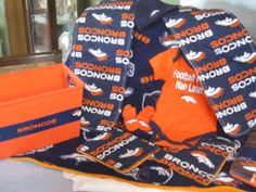 Denver Broncos Baby Gift Basket Blanket Burping by CuddleBugBaby, $80.00