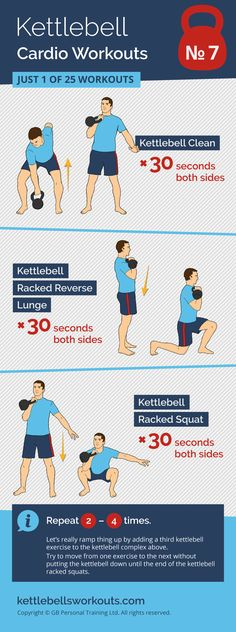 1 of 25 kettlebell cardio workouts designed to raise your heart rate and improve your cardio health. #kettlebell #exercise #cardio #kettlebellworkout