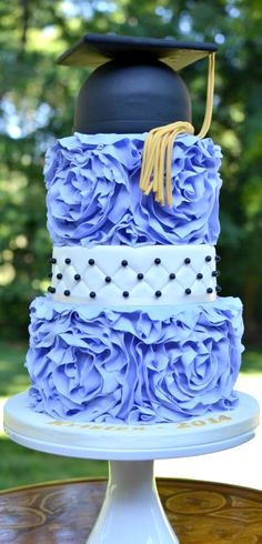 Ruffled Graduation Cake