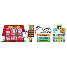 "The Peanuts gang can be part of your classroom with this fun calendar set that incorporates two different Snoopy poses. 112 Piece Set Includes: 1 Giant Calendar (34"" x 24""), 12 Month Headings, 35 Date"