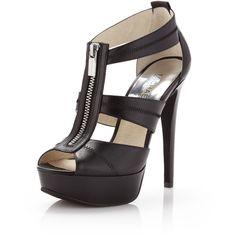 MICHAEL Michael Kors Berkley Leather T-Strap Sandal, Black ($160) ❤ liked on Polyvore