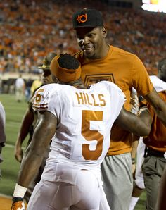 Jeremy Hills (5) with former Texas Longhorn and current NBA player Kevin Durant
