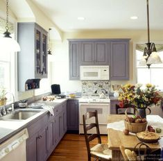 White appliances with gray-blue cabinets