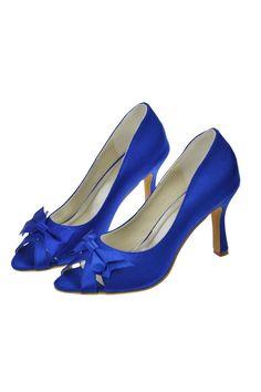 Modest Beautiful Handmade Royal Blue High Heel Peep Toe Shoes For Wedding S62
