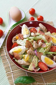 Salade de poulet, sauce moutarde miel