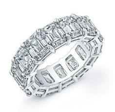 Wish list :) Emerald cut diamond shared prong eternity band - Ladies Bands - Wedding Bands - Fine Jewelry
