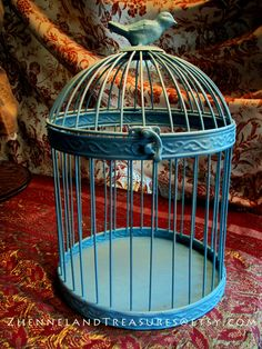 Metal Birdcage Painted Blue Shabby Chic for Home Decor or To Use in Art and Craft Projects. $21.00, via Etsy.