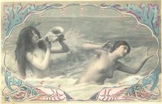 Mermaids' Music  1900s French Risque Art Nouveau Postcard. @Darcycook