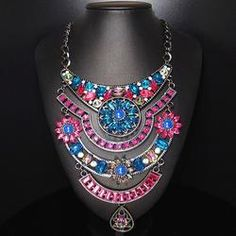 Multilayer Silver Plated Retro Statement Necklace