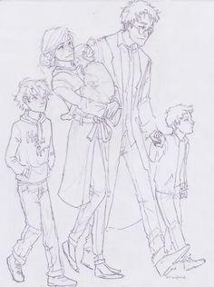 Potter Family. Amelia Potter, Harry Potter, James Sirius Potter, Albus Severus Potter, Lily Silena Potter.