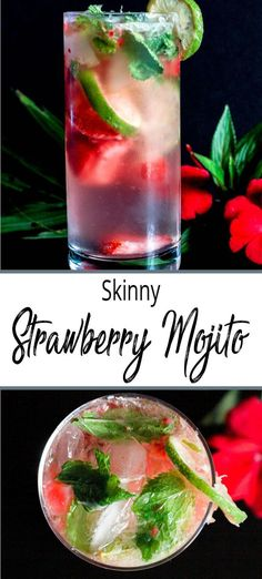 This Skinny Strawberry Mojito is one of the best summer cocktails on the planet!… This Skinny Strawberry Mojito is one of the best summer cocktails on the planet! Strawberries, lime, mint and rum with a hint of added sweetness. Low Calorie Cocktails, Wine Cocktails, Easy Cocktails, Fruity Cocktails, Rum Recipes, Drinks Alcohol Recipes, Alcoholic Drinks, Margarita Recipes, Punch Recipes
