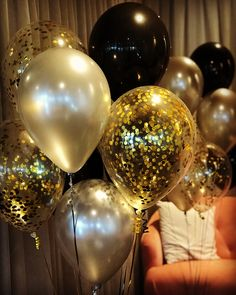 Gold Black Latex Balloons - Latex Balloons Mix Clear Confetti Balloons Gold Party Decorations(Pack of - Gold and Black Balloons for Masquerade Great Gatsby Party, Hollywood, – Samantha Peach Masquerade - Masquerade Party Decorations, Masquerade Ball Party, Girls Party Decorations, Masquerade Masks, Black And Gold Party Decorations, 1920s Decorations, Clear Balloons With Confetti, Black Balloons, Latex Balloons