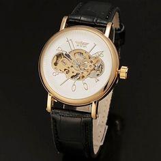 Automatique Hommes Blanc Cadran noir cuir PU bande de montre-bracelet creux en or     – CAD $ 35.20