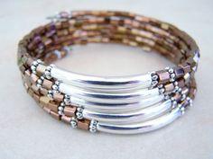Bronze and Copper Memory Wire Bracelet by FeralsPassageGifts