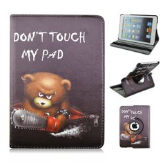 PU Leather and PC Material 360 Degrees Rotating Cover Case of Contrast Bear do not Touch My Pad Pattern for iPad Air 1 iPad 2017 #Affiliate