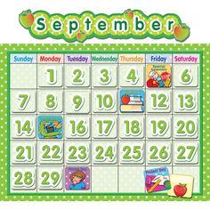 Polka Dot School Calendar Bb Set