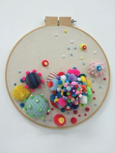 """Petri dish 1, textiles and wooden embroidery hoop. Shown in """"Hybridity"""" at Water Street Studios in Batavia Il and to be shown in The Consilience of Art and Science at the Pence Gallery, University of California, Davis"""