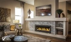 """The Vector by Napoleon is impressive, 50 inches impressive! Its amazing choice of contemporary fireplace medias, Napoleon's provides you with a luxurious fireplace experience. Enjoy the radiant glow from the standard Topaz CRYSTALINEâ""""¢ glass. Direct Vent Gas Fireplace, Vented Gas Fireplace, Basement Fireplace, Linear Fireplace, Bedroom Fireplace, Home Fireplace, Fireplace Remodel, Living Room With Fireplace, Fireplace Design"""