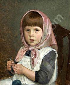 Knitting Girl by Adolf von Becker (1831 – 1909, Finnish)