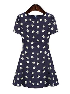 Sweet Flower O-Neck Short Sleeve Slim Chiffon Dress