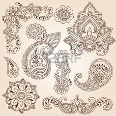 Henna Mehndi Doodles Abstract Floral Paisley Design Elements, Mandala, and Page Corner Design Vector Illustration Stock Vector - 11885826