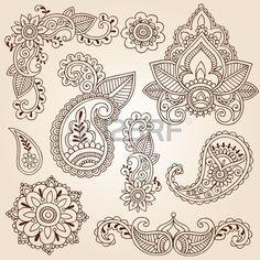 Henna Mehndi Doodles Abstract Floral Paisley Design Elements, Mandala, and Page Corner Design Vector Illustration Stock Vector - 11885826