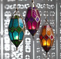 Moroccan Style Large Hanging Glass Lantern > Moroccan Style Lanterns in Coloured Glass > Home & Gifts > Namaste Fair Trade > Namaste-UK Ltd Moroccan Lamp, Moroccan Lanterns, Moroccan Style, Moroccan Fabric, Moroccan Garden, Moroccan Lighting, Moroccan Blue, Lantern Tea Light Holders, Candle Holders