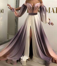 gradient prom dresses long off the shoulder elegant 2021 prom gown with side slit vestido de longo Evening Dresses, Prom Dresses, Formal Dresses, Elegant Dresses, Pretty Dresses, Dress Dior, Dress Outfits, Fashion Dresses, Fashion Weeks