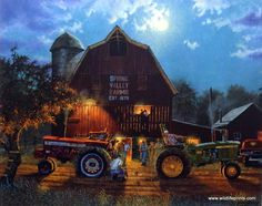 The Rematch is a follow-up to the Barnhouse print Bragging Rights. Another tractor pull between an Allis Chalmers and a John Deere tractor at the Spring Valley Farms barn. The challenge between variou