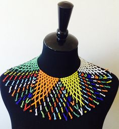 Your place to buy and sell all things handmade Lace Necklace, Crochet Necklace, Zulu Women, African Beads, Handmade Beads, Bead Crochet, Loom Beading, Beaded Lace, Xhosa