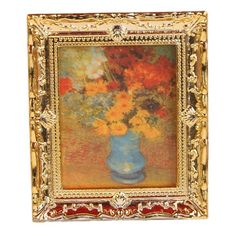 Dollhouse Furniture - Golden Plastic Frame Flower Oil Painting 112 Miniature Dollhouse Furniture ** Want to know more, click on the image.