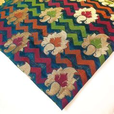 Chanderi Silk Fabric  Green and Maroon Paisley Silk by DesiFabrics