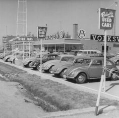 What a great photo of an old VW dealership.