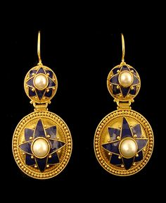 "Lovely Castellani 15 kt yellow gold blue enamel earrings with pearls and great detail. Approximately 1-5/8"" from top of wire x 3/4"" at widest point. These earrings feature beautiful granulation work."